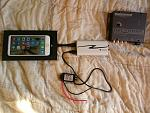 "Iphone 6+ side slider kit.    HRT Istreamer (usb to rca digital/analog converter + charges phone)     Mophie 4"" lightning to usb cable.    12v to 5v..."