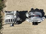 "Old mechman alternator beside ""current"" one.    170 & 250 amps repectively"