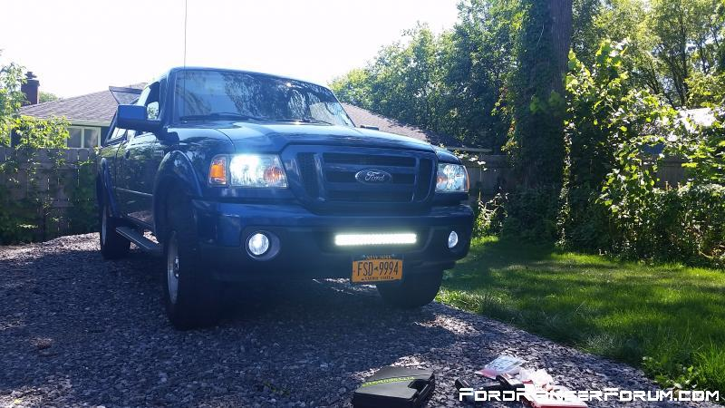 Pretty much all stock with LED fogs, HIDs, and light bar