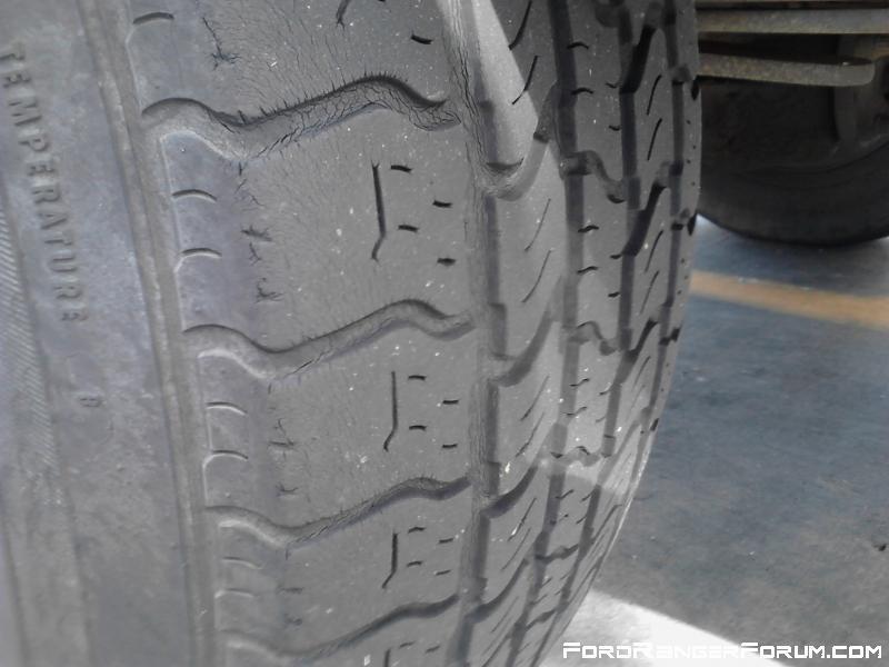 Tread on the rear passenger tire.