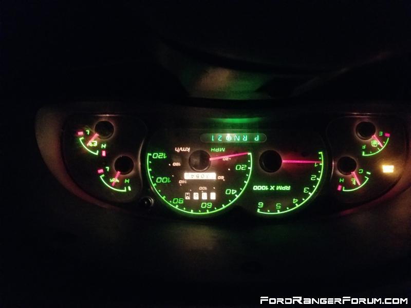 Explorer white gauges at night