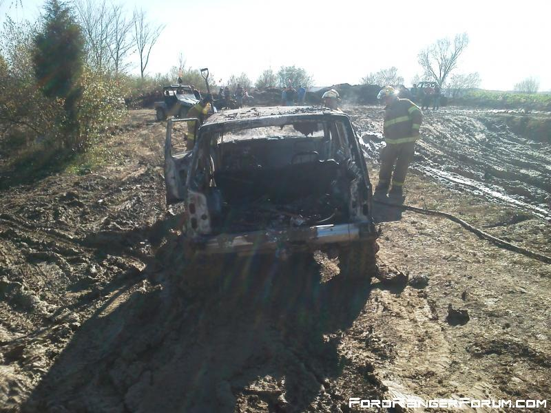 2012cliffs this cherokee was plaing in mud pits in high range over heated trans.Trans boiled over on to exhaust and went up like a roman candle