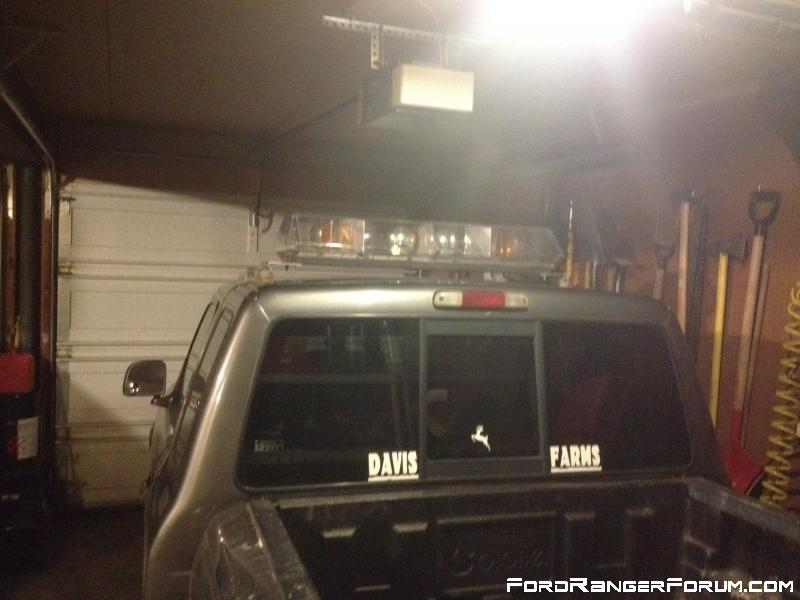 Rear shot after roof light install. You can see the rear deck strobe behind the deer