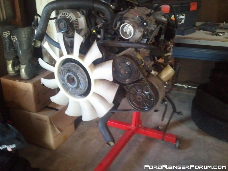 3.0 engine out of a 97 ranger, that is going to go into the 1998, ready on the stand..
