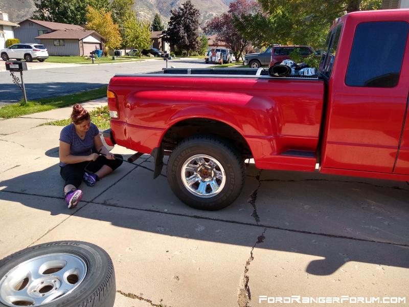 About the only thing my 15 year old daughter wants to do outside is help with the truck.