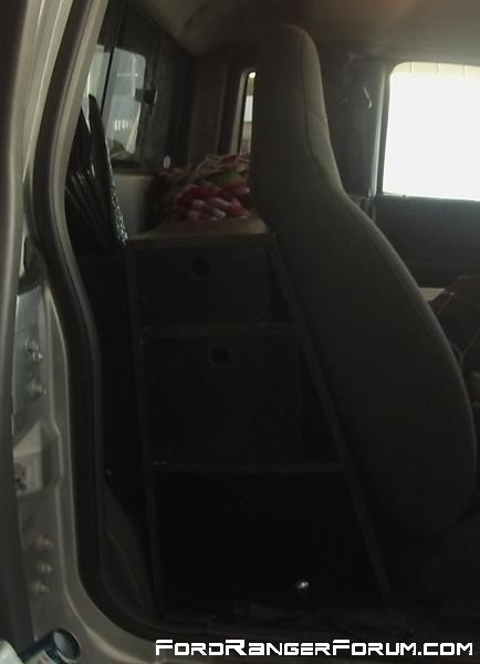 behind seat storage on both sides of the truck
