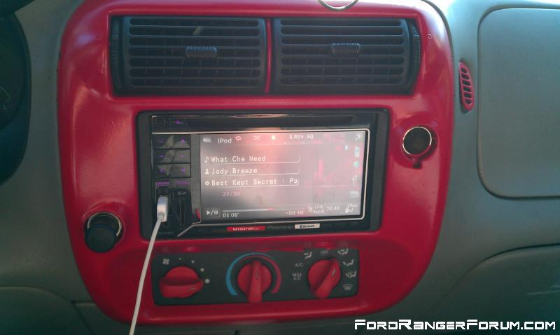 Painted around deck and temp controls DoubleDin fits with a bit of mods.  iPod ready/nav/dvd.