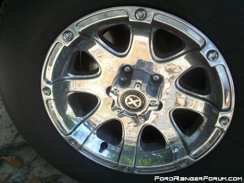 the rims I opted for after getting rid of the old 18 inchers. Set of 15 inch american racing ATX series ledge chrome rims